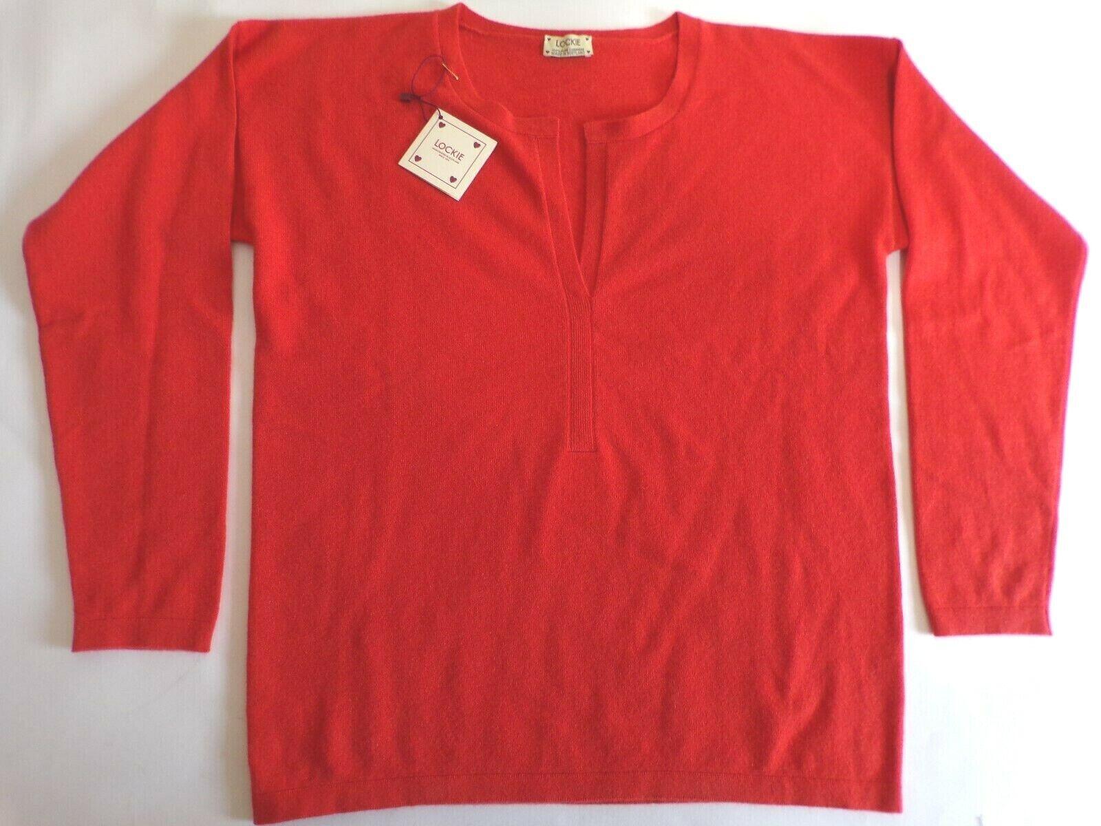 William Lockie scoop V neck 2 ply cashmere sweater jumper oben 36  UK 12 Orange