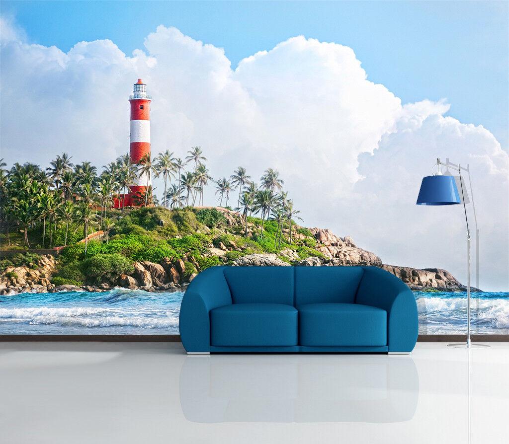 3D Leuchtturm Insel Wolken 7599 Tapete Wandgemälde Tapeten Bild Familie DE Lemon  | Sorgfältig ausgewählte Materialien  | Großartig  | Sale Online Shop