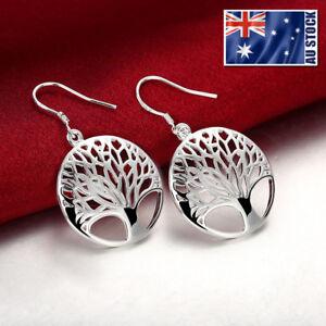 Women-925-Sterling-Silver-Filled-Tree-of-Life-Drop-Dangle-Earrings-Stunning-Gift