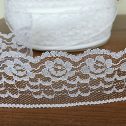 White flat lace 2 inches wide sold per metre