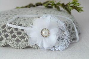 Lace baby white headband hairband for baptism christening flower diamantes UK