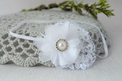 white baby hair band flower Handmade Lace headband baptism christening tiara