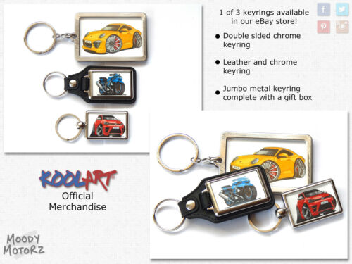 Koolart Cartoon Car Fiat Barchetta Leather and Chrome Keyring