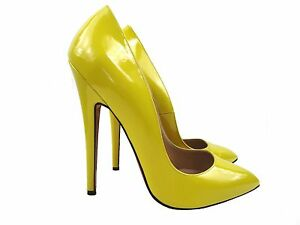 CQ-COUTURE-EXTREME-HIGHEST-HEELS-PUMPS-SCHUHE-COURT-SHOES-LEATHER-YELLOW-38