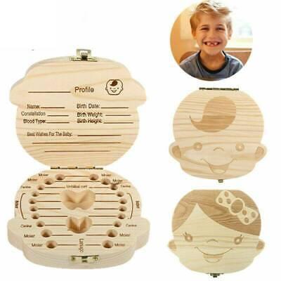 Kids Tooth Box Organizer Baby Save Milk Teeth Wood Storage Box Keep Memory RK