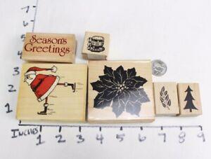 Wooden-RUBBER-STAMP-Block-Lot-Christmas-Santa-Claus-Xmas-Holiday-Santa-Skating