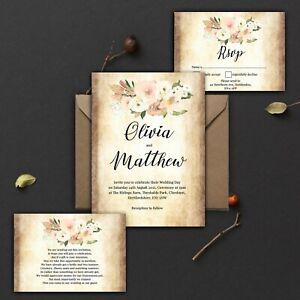 WEDDING-INVITATIONS-Personalised-Vintage-Rustic-Blush-Ivory-And-Peach-PK-10