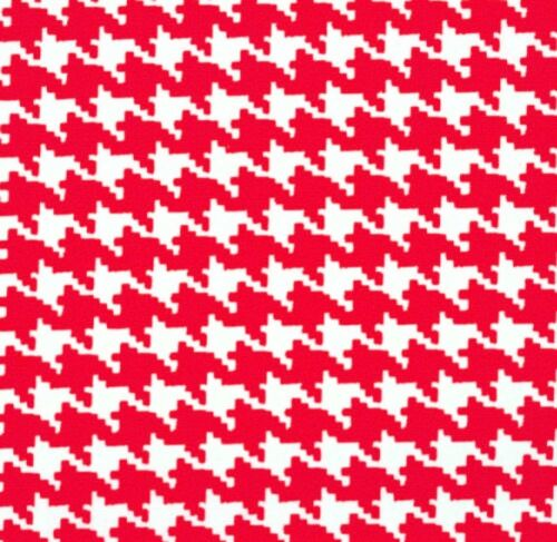 100/% Cotton Fabric Geometric Dressmaking Quilting Mono Houndstooth Red