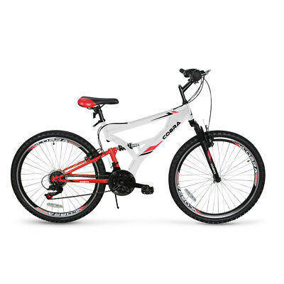 26-Inch Cobra Mountain 7-Speed Steel Bike Anti-Skid Wheel Full Suspension, White