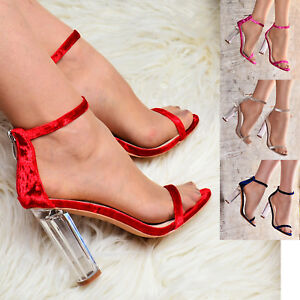 9f5004a13158 Image is loading Ladies-Velvet-Clear-Block-Heel-Sandals-Ankle-strap-