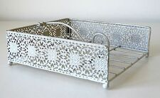Titular de la servilleta Estilo Chic & Shabby Metal Cut-out patrón Crema Servilleta dispensador