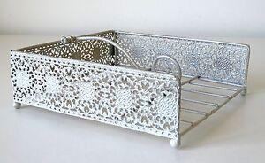 Napkin-Holder-Chic-amp-Shabby-Style-Metal-Cut-Out-Pattern-Cream-Napkin-Dispenser