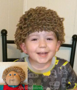 Cabbage Patch Kid Doll Boys Crochet Hat Wig Lt Brown Infant Toddler ... 64e0cfee031