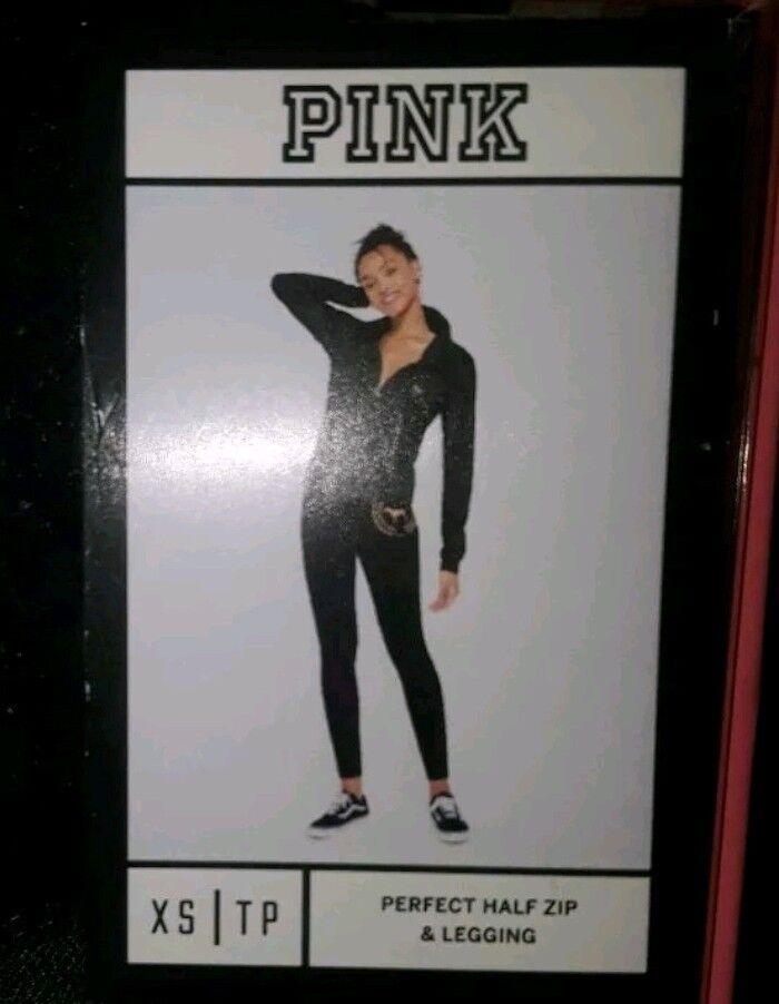 Victoria's Secret PINK perfect half Zip Hoodie & Legging Gift Set NEW size XS