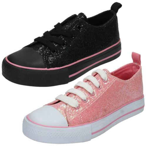 Girls H2287  Glittery Black or Pink Lace Up Pumps by Spot On Sale £4.99