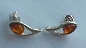 Cute-Vintage-Russian-Baltic-Amber-Sterling-Silver-925-Earrings