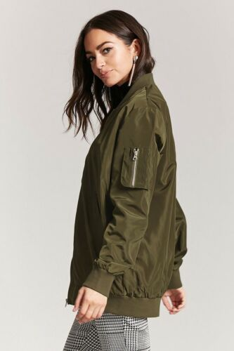 NWT Forever 21 Green Longline Bomber Jacket Super Cute $25 Size S-M-L