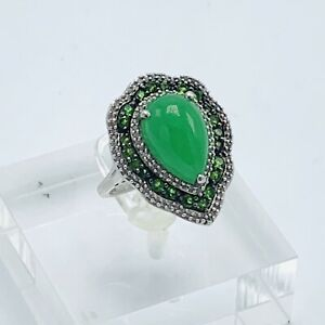 STS Green Jade Art Deco Green Halo Sapphire Sterling Silver Ring Size 7