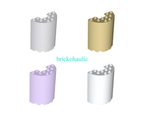 Lego Cylinder Half 3 x 6 x 6 with 1 x 2 Cutout Parts Pieces Lot ALL COLORS