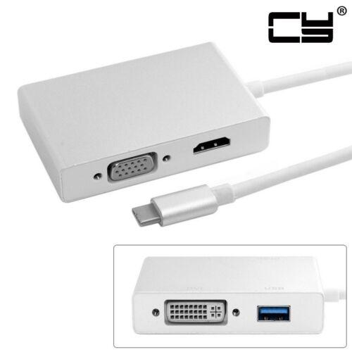 Combo USB-C USB 3.1 Type C to USB OTG /& HDMI /& DVI /& VGA Adapter for Notebook