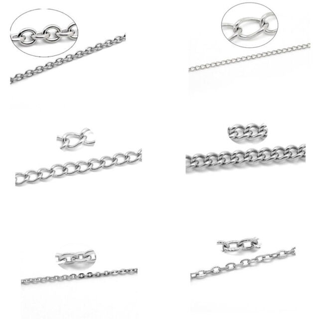 8SJ 10M Stainlesss Steel Link-Opened Curb Chains Findings Silver Tone DIY