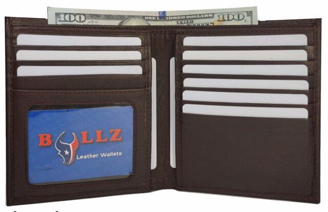 Men/'s Genuine Cowhide Leather Slim Hipster Brown Bifold Credit Card Wallet New