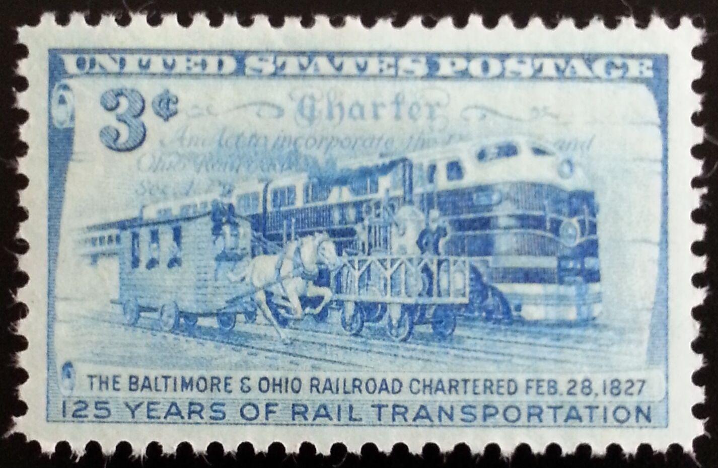 1952 3c Baltimore & Ohio Railroad Scott 1006 Mint F/VF