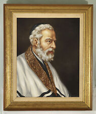 Gyorgy SZENNIK ( Hungarian b.1923 ) Judaica Rabbi original Jewish oil painting