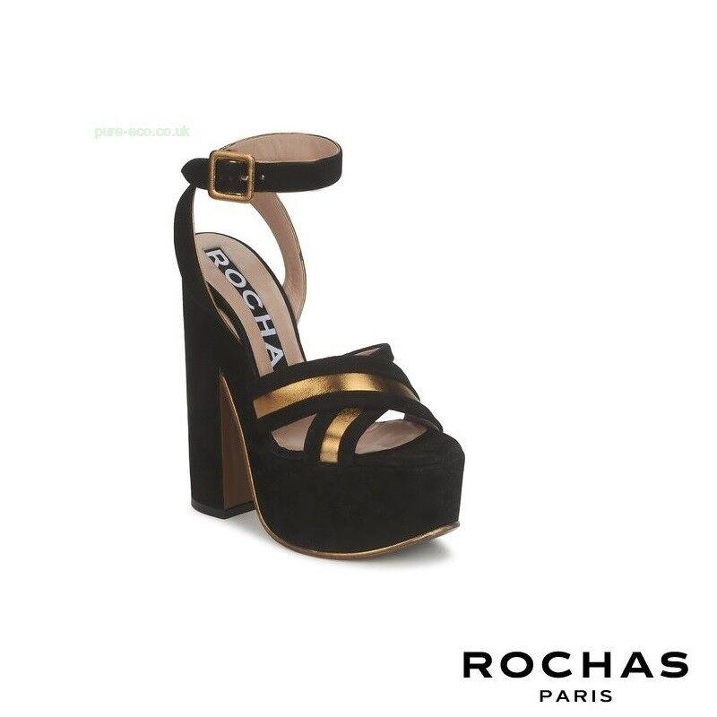 Rochas Paris RO18238 Black Gold Suede Lambskin Leather Sandals - UK 7 / EU 39