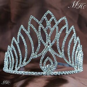 Silver-Women-039-s-Crowns-Tiaras-With-Hair-Comb-Wedding-Bridal-Rhinestone-Headpiece