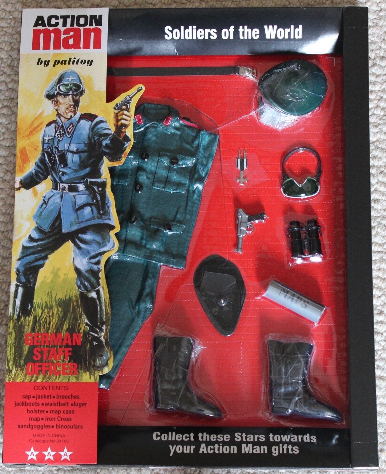 Vintage action man 40th anniversary german staff officer card boxed