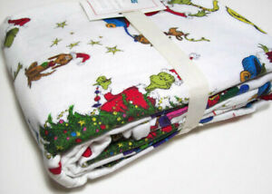 Pottery-Barn-Kids-The-Grinch-And-Max-Flannel-Organic-Cotton-Twin-Sheet-Set-New