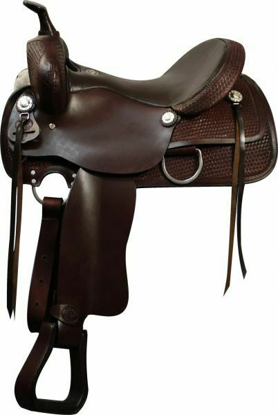 Double T Pleasure Style SADDLE Basketweave Tooled Leather Silber Conchos FQHB