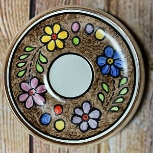 Hand-Painted-Cuernavaca-Mexican-Pottery-Espresso-Saucer-Mexican-Folk-Art-Vintage