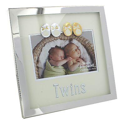 """Argentato """"twin"""" Photo Frame 6x4"""" Nuovo In Scatola Regalo - 26430- Garanzia Al 100%"""