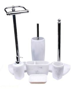 Octavia White Marble Effect Resin Bathroom Accessory Set