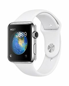 Apple-MJ302B-A-38-mm-Stainless-Steel-Case-Watch-with-White-Sport-Band-New-Sealed