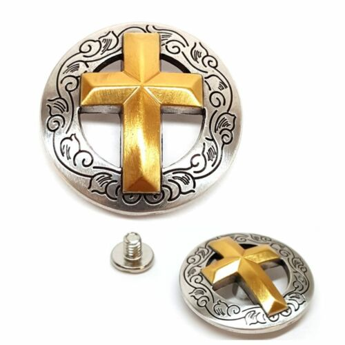"""2 Pack 1-1//8/"""" Western Silver Gold Cross Round Concho w// 1//4/"""" Chicago Screws"""
