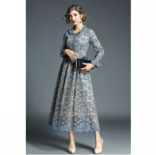 Womens Lady Temperament Lace Hollow Out A-line Dress Formal Maxi Long Occident D