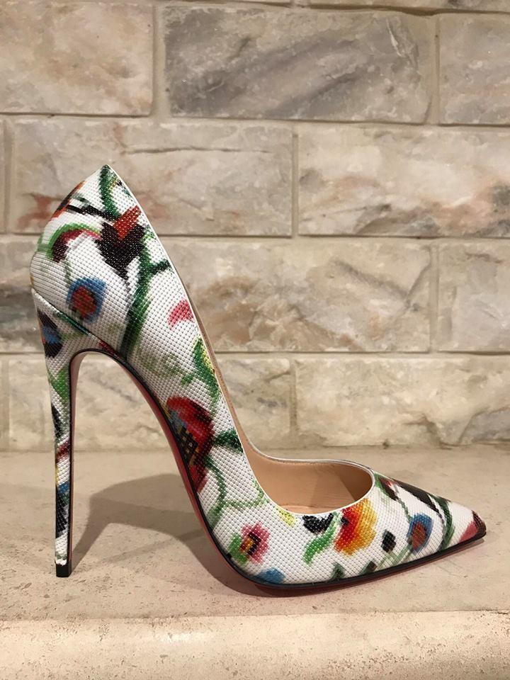 NIB Christian Louboutin So Kate 120 White Mosaique Flower Patent Heel Pump 35.5