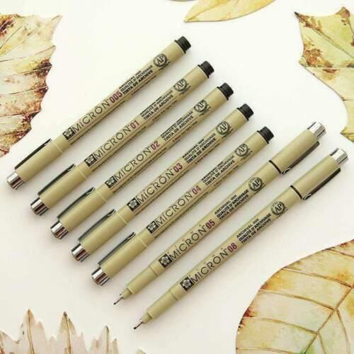 GENUINE JAPAN Sakura Pigma Graphic BR /& Micron Liner Pen Ink Fine Assorted Black