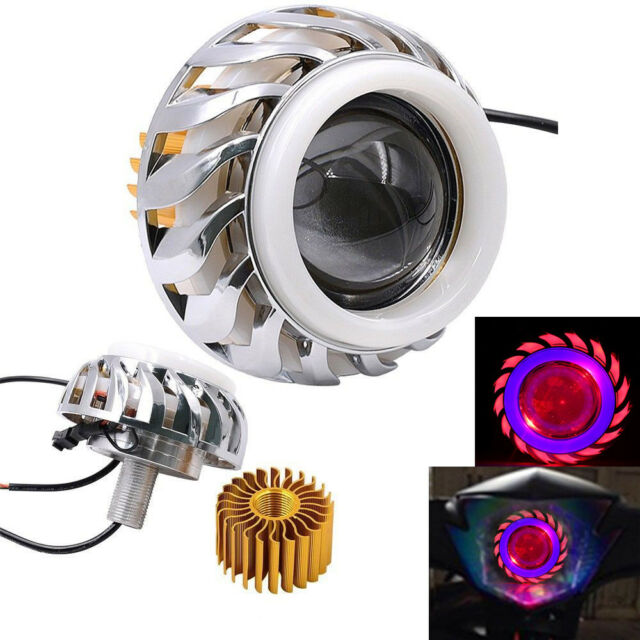 New Motorcycle Hi-LO LED Halo Projector Headlight White Angel Eye Red Devil Eye