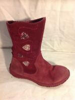 Girls Clarks Red Leather Boots Size 12F