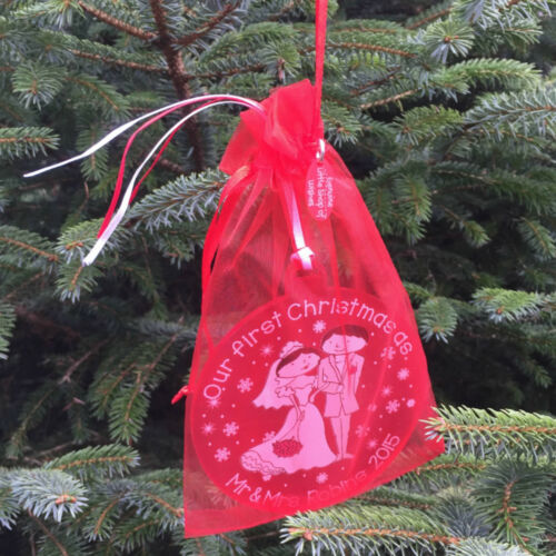 First Christmas as Mr /& Mrs Gift Couple Personalised 1st Decoration Tree Bauble