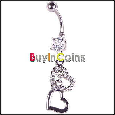 Fashion Double Heart Rhinestone Navel Belly Button Barbell Ring Body Piercing