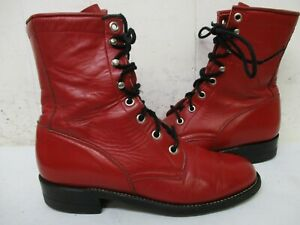 Justin Red Leather Lace Up Roper Cowboy