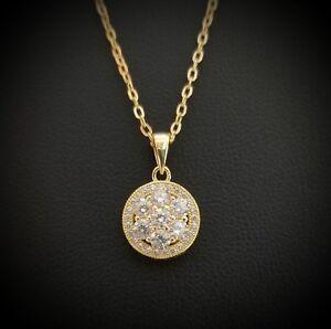 14k-Yellow-Gold-Finish-Round-Diamond-Flower-Halo-Pendant-Necklace