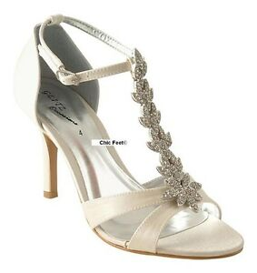 NEW-LADIES-IVORY-SATIN-WEDDING-BRIDAL-PROM-T-BAR-DIAMANTE-MID-HEEL-SHOES-SANDALS