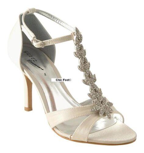 NUOVI Donna Avorio Raso Nuziale Prom T Bar Diamante Scarpe Tacco Medio Sandali