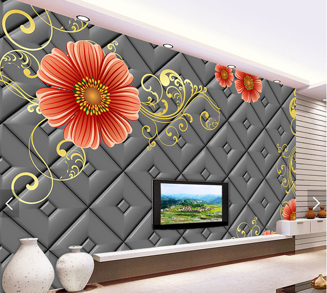3D Orange Flowers Vine 6 Wall Paper Wall Print Decal Deco Indoor Wall Mural CA